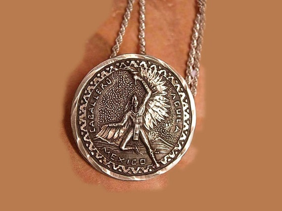 1950's Sterling Caballero Necklace Winged Indian Coin  SIGNEd and hallmarked