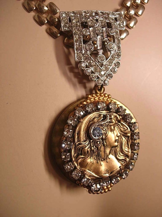 DEco Rhinestone Cleopatra Locket bookchain necklace with jeweled snake in her hair