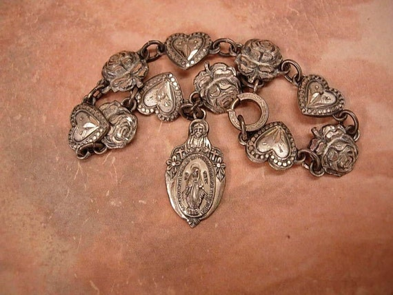 Reserved for ELA 1920's sterling Rosary BRacelet with ORiginal 1830 Miraculous medal