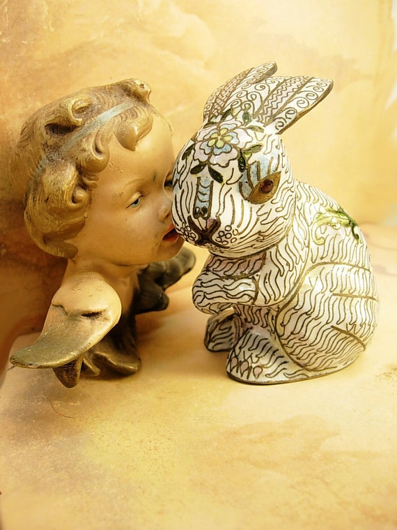 Bunny and the dragonfly with a secret dimensional enamel rabbit figurine