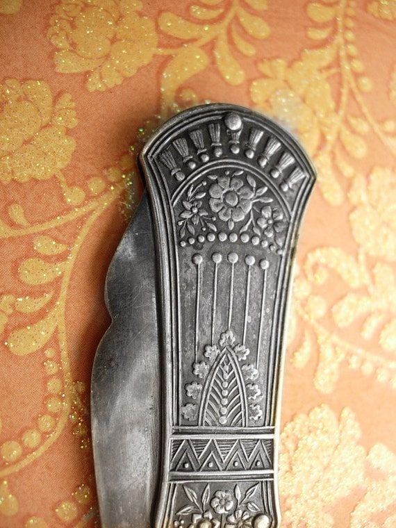 Reserved for ANI ANtique sterling Folding Knife Ornate nouveau metal work fancy blade