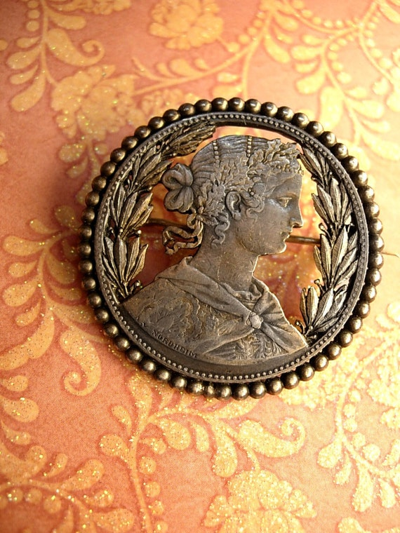 1850s Coin brooch with REALLY interesting history on the model Rothschild Love Thayers Sweetheart brooch
