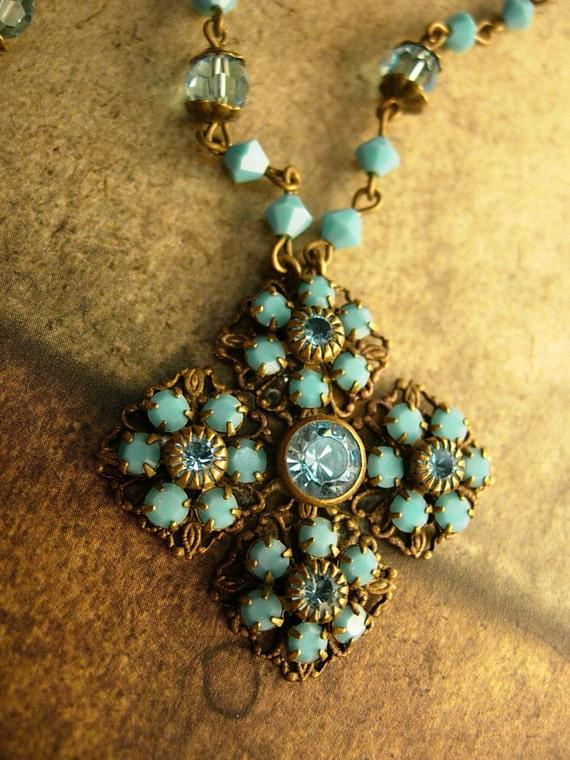 Gorgeous Vintage Victorian czech turquoise cross necklace