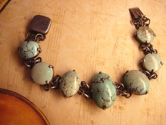Reserved for May Vintage sterling  Burmese Turquoise Indian bracelet with primitive turquoise stones