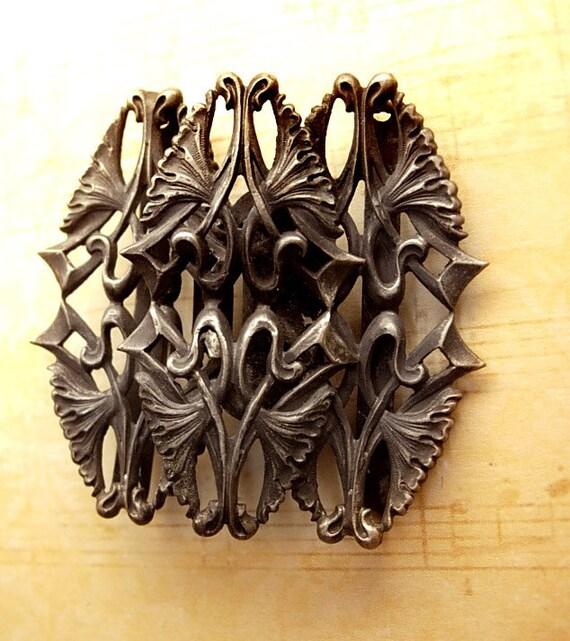 Bizzare Gothic antique creature sterling belt buckle