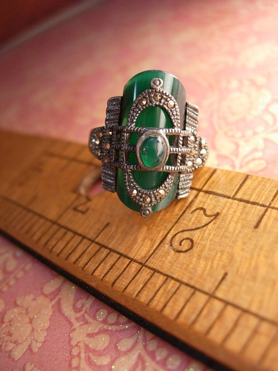 Reserved for zel Antique Art Deco Buckle RIng Chrysoprase and marcasite FABULOUS sterling Period piece