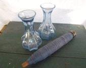 Set/2 Vintage Blue Glass Nobby Ribbed Vases