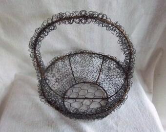 Vintage Spring Wire Round Metal Basket