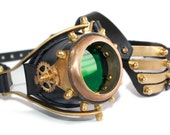 Steampunk mono goggle from solid brass with leather eyepatch (Anatoray Volunteer's widespread design No.4) BLACK LEATHER GREEN LENSE