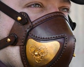 STEAMPUNK LEATHER MASK brown leather brass plating and gears decor Snout design no.2