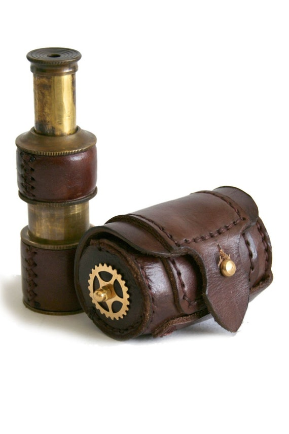 Steampunk brass telescope with leather case BROWN LEATHER GEARS DECOR