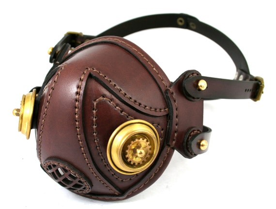 STEAMPUNK LEATHER MASK brown leather brass filters Snout design no.1