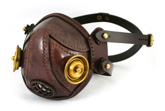 STEAMPUNK LEATHER Mask made of beaver brown leather brass filters CUSTOM Snout design