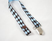Lil Nerdy Blue and Brown Argyle Binky Clip
