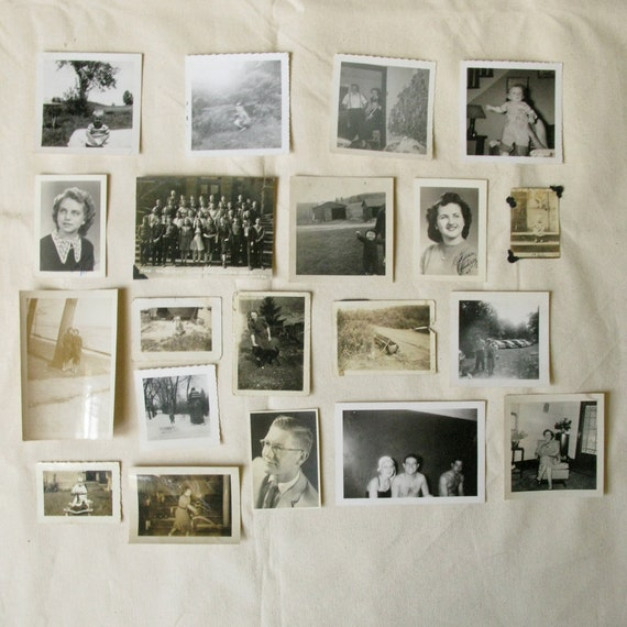 Set of 20 Black and White Photos for Paper Crafting Collage Art