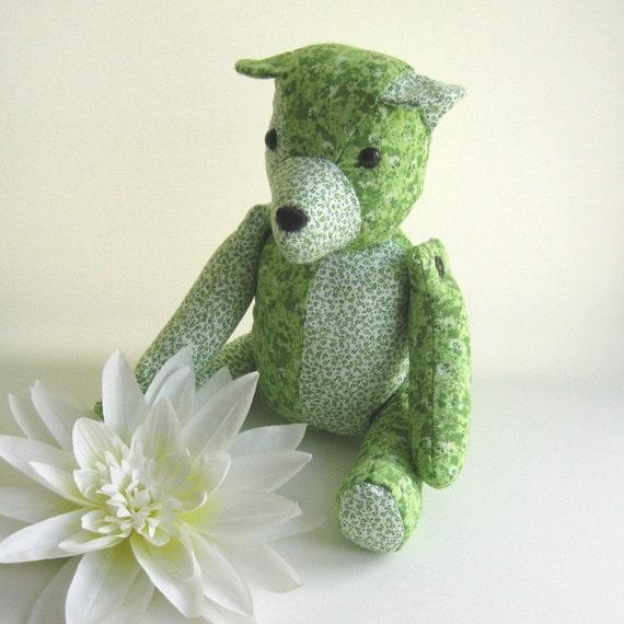 Handmade Jointed Bear - Green Patchwork Bear OOAK