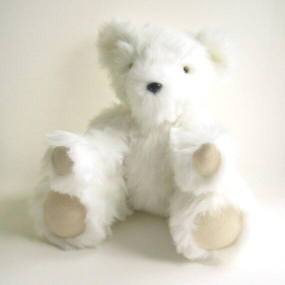 Handmade Jointed Bear - Cream Long Fur Bear