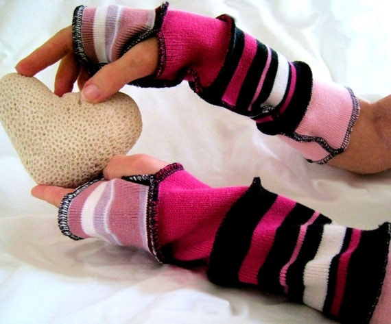 Arm warmers Recycled Repurposed Upcycled Sweater Fingerless Gloves