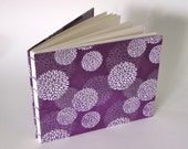 Violet Mums on Plum Medium Wedding Guest Book, Made to Order