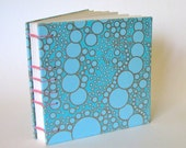 Sketchbook, Journal, Blue Bubbles with Pink Binding