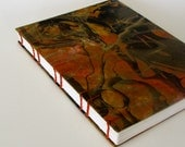 Travel Journal, Art Journal, Large Sketchbook, Hand Marbled Cover in Shades of Orange