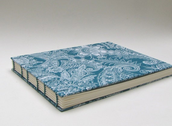 Wedding Guest Book, Large, Bohemian Turquoise, Made To Order