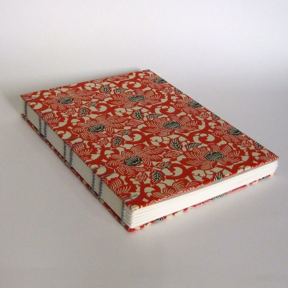 Large Sketchbook, Coptic Stitch, Journal, Japanese Red Blossoms, Made To Order