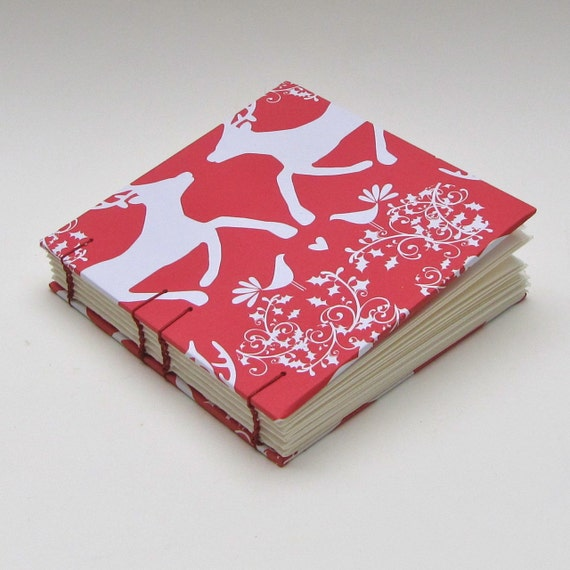 RESERVED Red Reindeer Handmade Blank Book