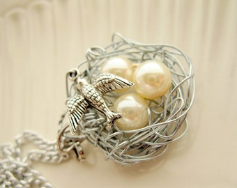 A Mother's Nest CUSTOM Necklace - (1 egg for each child)