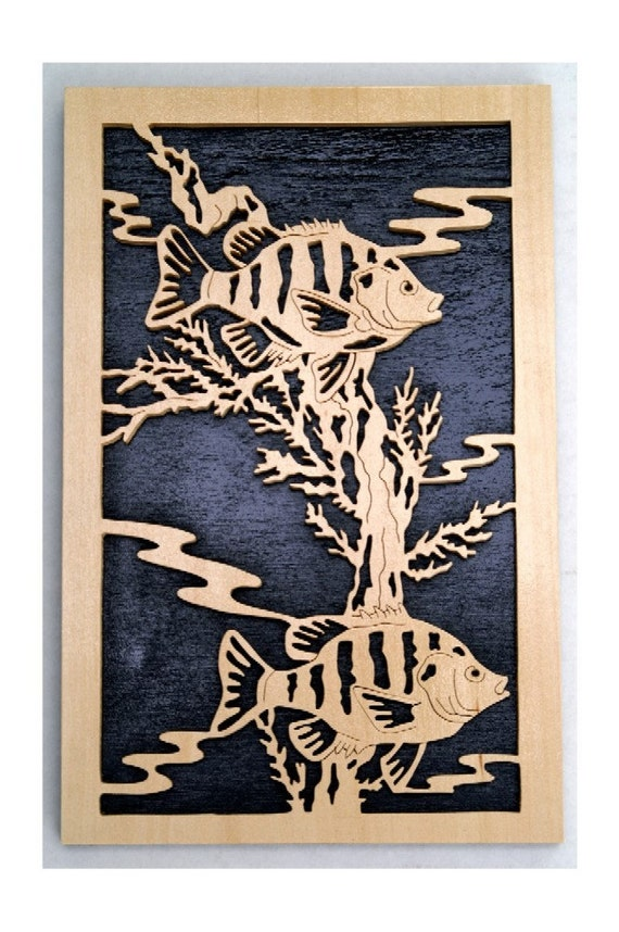 Scrolled Fish and Coral Reef scene