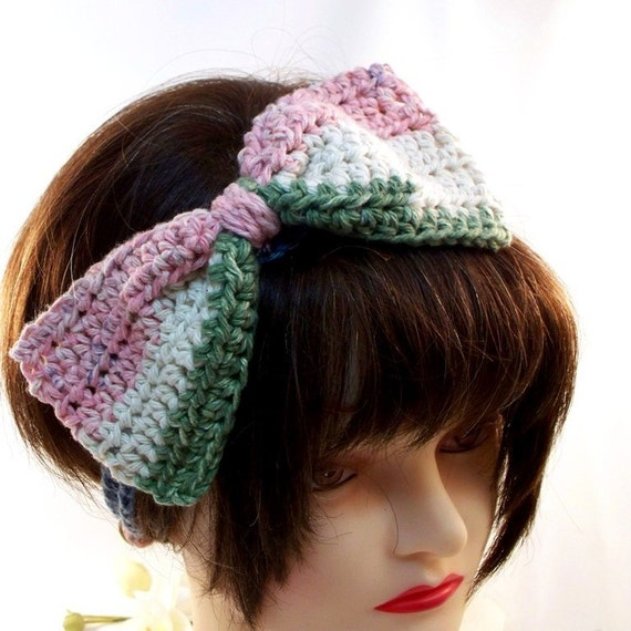 Big Bow Headband in Muted Summertime Colors