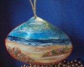 Custom Order for G Autumn on the Beach Authentic Hand Painted Sea Shell Wall Art ornament