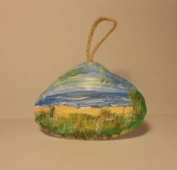 Hand painted hanging sea shell art
