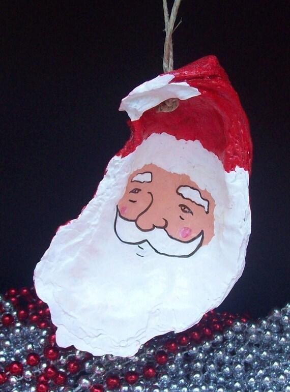 Ahoy Santa Hand Painted Sea Shell Christmas Ornament