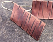 Hammered Textured Copper and Sterling Silver Artisan Drop Earrings
