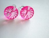 Cute as a Button - Pink button earrings