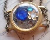 Steampunk Spring - Steampunk Necklace, Flower Necklace, Shadowbox Necklace, Blue Necklace, Brass Necklace