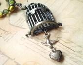 The Circus Bird's Secret - Locket Freshwater Pearl Czech Glass Birdcage Necklace