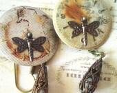 Steampunk Teardrops - Asymmetrical Earrings, Mismatched Earrings, Brass Earrings, Steampunk Earrings, Draognfly Earrings