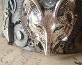 RESERVED for Eleanor24 - The Steampunk Wolf - Cuff Bracelet, Wolf Bracelet, Wolf Cuff, Gunmetal Cuff, Unisex Bracelet, Unisex Cuff