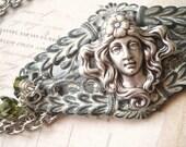 Romantic Garden - Silver Bracelet, Art Nouveau Bracelet, Green Bracelet, Filigree Bracelet