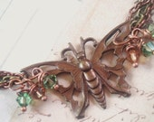 The Garden Butterfly Queen - Brass Bracelet, Butterfly Bracelet, Copper Bracelet, Multi Chain Bracelet