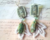 Time of Lace and Owls - Steampunk Earrings, Owl Earrings, Asymmetrical Earrings, Lace Earrings