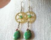 Picasso Gears - Steampunk Earrings, Green Earrings, Gear Earrings, Brass Earrings