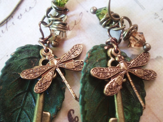 Keys to the Garden - Dragonfly Earrings, Patina Earrings, Key Earrings, Leaf Earrings