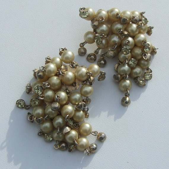 Signed PAT PEND Vintage Dangle DROP Clip Earrings Faux Pearl and Rhinestones