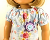 Made For American Girl Doll 1970's Peasant Dress Sweet Floral Print Matching Hair Bow Fits 18 Inch Dolls Girls Toys OOAK