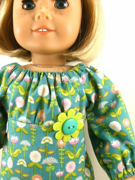 American Girl Doll Clothes Floral Retro Print Peasant Dress Fits 18 Inch Dolls Girls Toys Matching Hair Bow Clip On