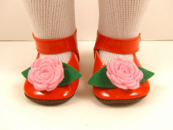 "Fits 18"" Dolls Like American Girl Shoes Embellished Mary Jane Shoes Red With Pink Wool Felt Flowers and Green Leaves"