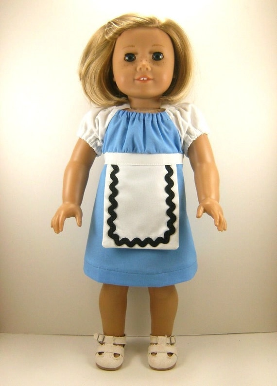 "REDUCED HALF OFF Peasant Doll Dress Fits 18"" Dolls Ready To Ship Alice Inspired  Dress Girls Toys"